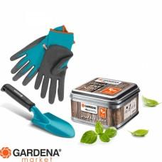 """Набор для выращивания """"Домашнее садоводство""""(совок цветочный арт. 8951, перчатки садовые для почвы арт. 206, семена (зелень), почва, металический куб для выращивания) Gardena 08967-20.000.00"""